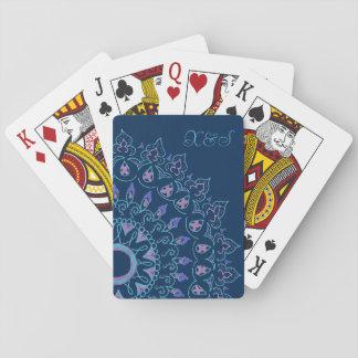 カードを遊ぶ青い曼荼羅 トランプ