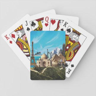 カードを遊ぶ7つの驚異旅行コラージュ トランプ