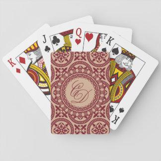 カードを遊ぶCおよびDのクランベリーおよびばら色の金ゴールド トランプ