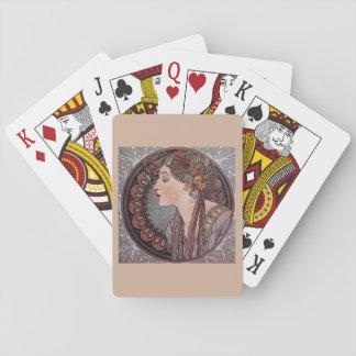 カードを遊んでいるアルフォンス島のミュシャのアールヌーボーの女性 トランプ