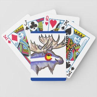 カードを遊んでいるコロラド州の州の旗のデザインのオオシカ バイスクルトランプ
