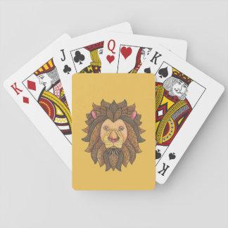 カードを遊んでいる落書きされたライオン トランプ