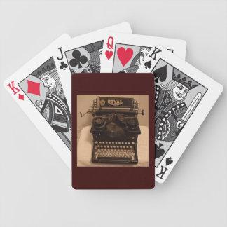 カードを、執筆遊ぶ、ヴィンテージのタイプライター作家 バイスクルトランプ
