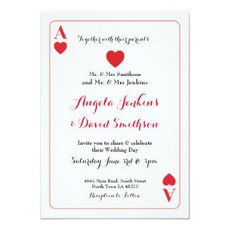 カードパーティーの招待を遊ぶハートの結婚式のエース カード