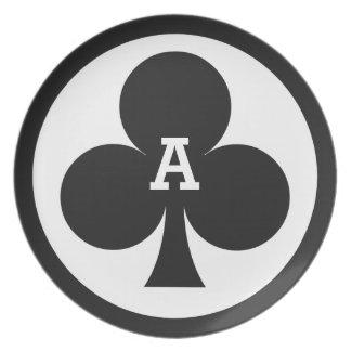 カードプレーヤーのカスタムなモノグラムのメラミンプレート-クラブ ディナー皿