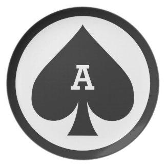 カードプレーヤーのカスタムなモノグラムのメラミンプレート-踏鋤 プレート