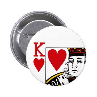 カードボタンのバッジを遊んでいるOf Hearts王 5.7cm 丸型バッジ