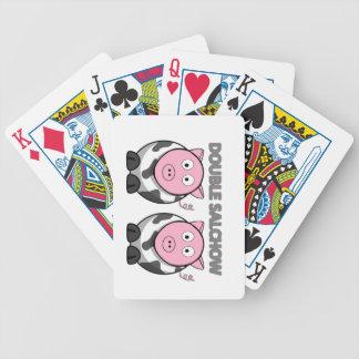 カード二重Salchowを遊ぶフィギュアスケート バイスクルトランプ