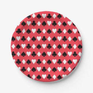 カード記号パターンを遊ぶカジノのトランプのポーカー ペーパープレート
