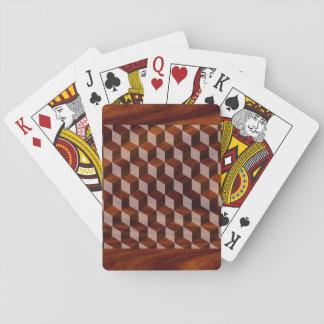 カード-のどによって--を遊びますはめ込まれる木 トランプ