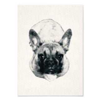 カード・ストック5x7のフレンチ・ブルドッグの子犬インクポートレート 12.7 x 17.8 インビテーションカード