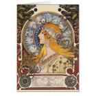カード: ミュシャ- (占星術の)十二宮図- Laの羽毛 カード