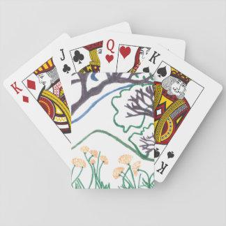カード、標準的な索引の顔を遊ぶ自然場面 トランプ