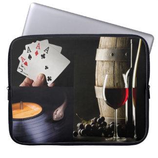 カード、音楽及びワインまたはあなたの写真の習慣の袖 ラップトップスリーブ