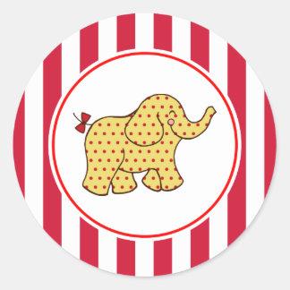 カーニバルのサーカス象のパーティーのステッカー ラウンドシール