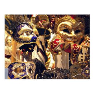 カーニバルのマスクの窓の郵便はがき ポストカード
