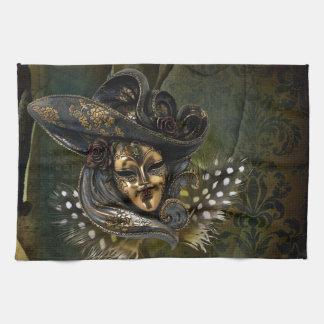 カーニバルのマスク緑のダマスク織の台所タオル キッチンタオル