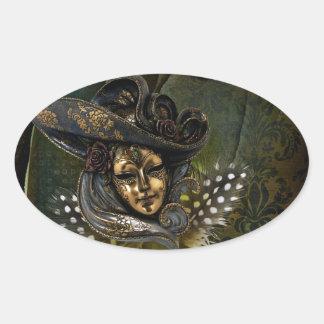 カーニバルのマスク緑のダマスク織の楕円形のステッカー 楕円形シール