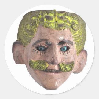 カーニバルのマスク 丸形シール・ステッカー