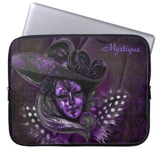 カーニバルのマスク-紫色のダマスク織のラップトップスリーブ ラップトップスリーブ