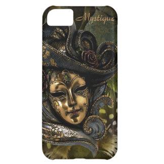 カーニバルのマスク-緑Nの金ゴールドのダマスク織のiPhone 5の箱 iPhone5Cケース