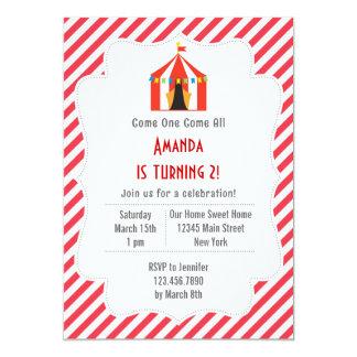 カーニバルの誕生日のパーティの招待状の赤のストライプ 12.7 X 17.8 インビテーションカード