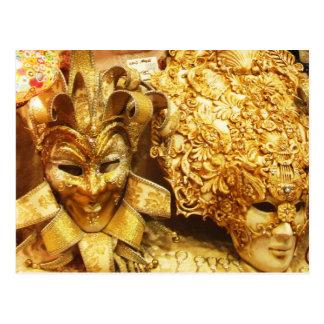 カーニバルの金ゴールドのこっけい者のマスクの謝肉祭 ポストカード