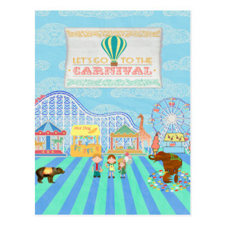 カーニバル、ジェットコースター、Ferris Whに行くために割り当てます ポストカード