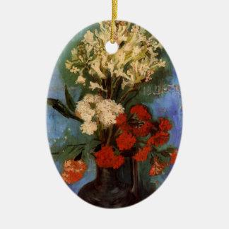 カーネーションおよび花が付いているゴッホのファインアートのつぼ セラミックオーナメント