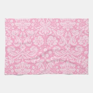 カーネーションのピンクのダマスク織パターン キッチンタオル