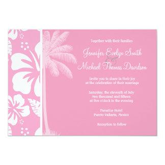 カーネーションのピンクの熱帯ハイビスカス; 夏のやし カード
