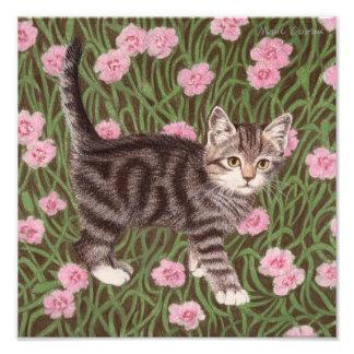 カーネーションを持つ虎猫猫 フォトプリント