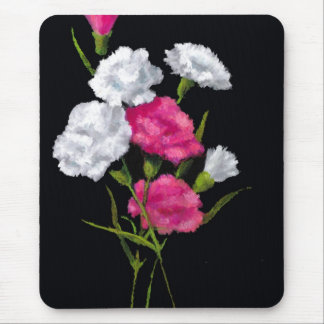カーネーション: 花: 黒のピンクそして白 マウスパッド