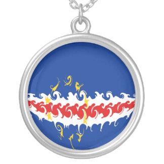 カーボベルデ共和国のすごい旗 シルバープレートネックレス