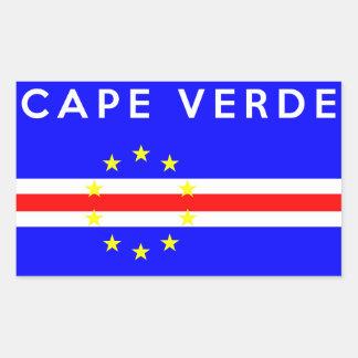 カーボベルデ共和国の国旗の記号の名前の文字 長方形シール