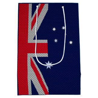 カーボンクロムスタイルのオーストラリアの旗のデザイン ミディアムペーパーバッグ