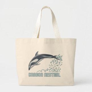 カーボン中立保存/イルカの跳躍 ラージトートバッグ