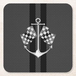 カーボン繊維のスタイルで航海のなボート競争 スクエアペーパーコースター