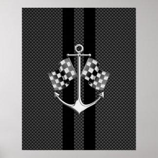 カーボン繊維のスタイルで航海のなボート競争 ポスター