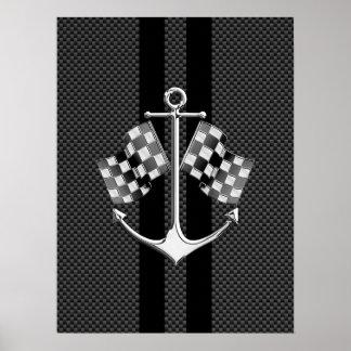 カーボン繊維のスタイルの装飾で航海のなボート競争 ポスター
