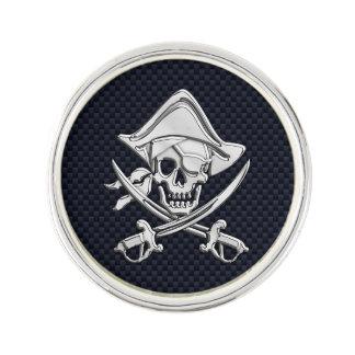 カーボン繊維のプリントのクロム海賊スカル ラペルピン