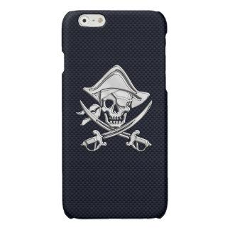カーボン繊維のプリントのクロム海賊骨が交差した図形