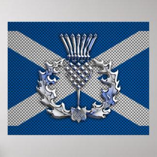 カーボン繊維のプリントのスコットランドの旗 ポスター