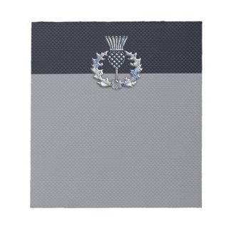 カーボン繊維のプリントのスコットランド人のアザミののようなクロム ノートパッド