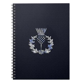 カーボン繊維のプリントのスコットランド人のアザミのクロム ノートブック