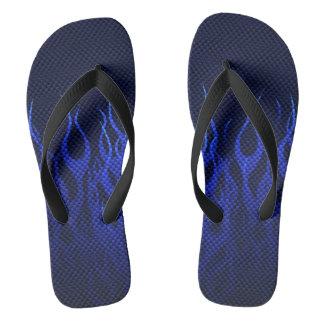 カーボン繊維のプリントの炎を競争させる青 ビーチサンダル