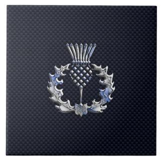 カーボン繊維のプリントの銀のスコットランド人のアザミ タイル