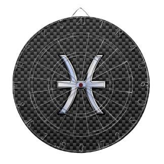 カーボン繊維のプリントの銀製の魚類の(占星術の)十二宮図の印 ダーツボード