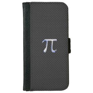 カーボン繊維のプリントのPiの記号のようなクロム iPhone 6/6s ウォレットケース