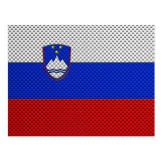 カーボン繊維の効果のスロベニアの旗 ポストカード